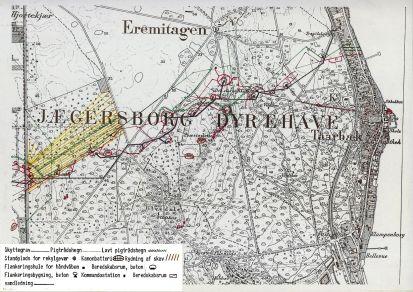 Kort over anlæggene i Dyrehaven