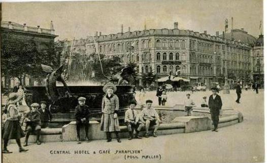 Dragespringvandet på postkort fra før 1923