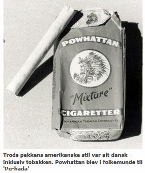 Cigaret mærket Powhattan under besættelsen