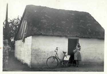 Gamle tørvehus med Birtha og Vibs