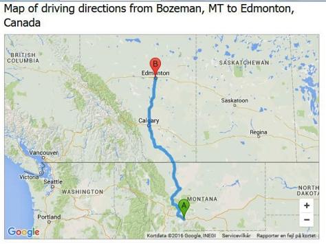 Afstand Edmonton - Boseman