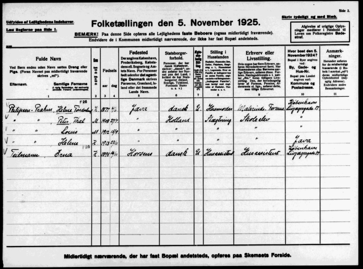 FT1925 Livjægergade