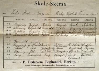 Skoleskema Børkop 1922-23
