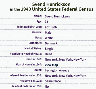 Census 1940 Svend Høg-1