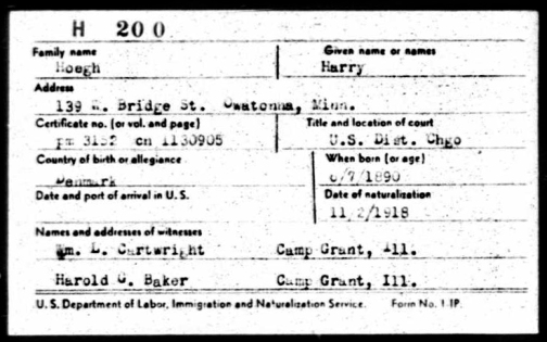 Harry Høegh naturalisation