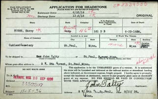 Harry Hoegh application headstone
