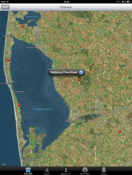 Kort der indikerer flyvergrave på Dejbjerg kirkegård