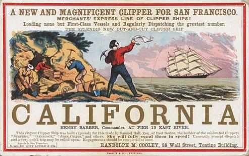 Reklame for sejlskib, der sejler til Californien i begyndelsen af guldfeberen