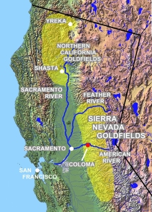 Californiens områder med guld i Sierra Nevada og det nordlige Californien
