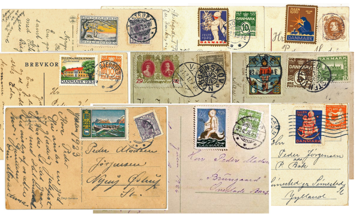 Christmas cards with stamps and Christmas seals2
