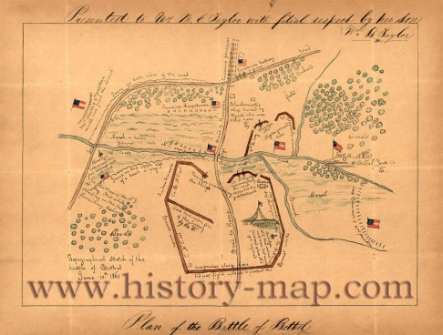 Created in 1861. Shows troop positions and little illustrations of flags