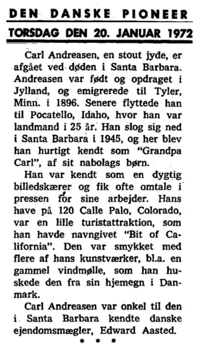 Carl Andreasen Nekrolog 1972