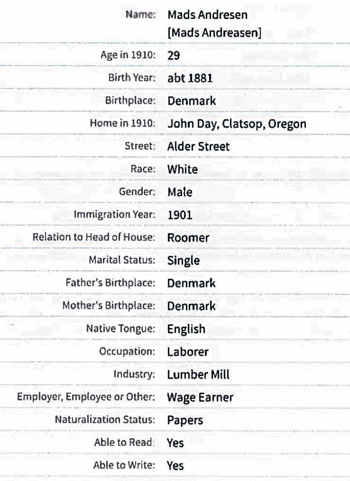 Mads Adam Andreasen census 1910