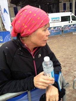 Efter løber klar til at nyde lidt vand