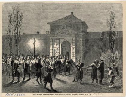 de danske fanger ankommer til Magdeburg