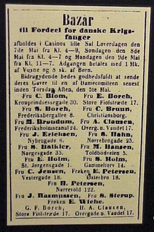 Anonce for bazar til fordel til 1864 krigsfanger
