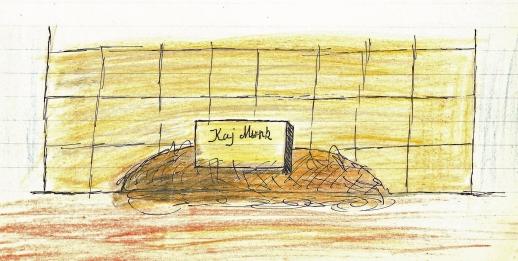 Min tegning af Kaj Munks gravsted 1962