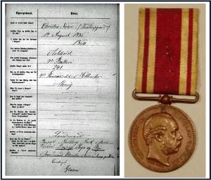 Christen Nielsen - 1864 medalje