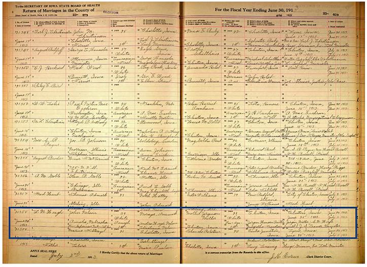 John-Mollie vielse 1913