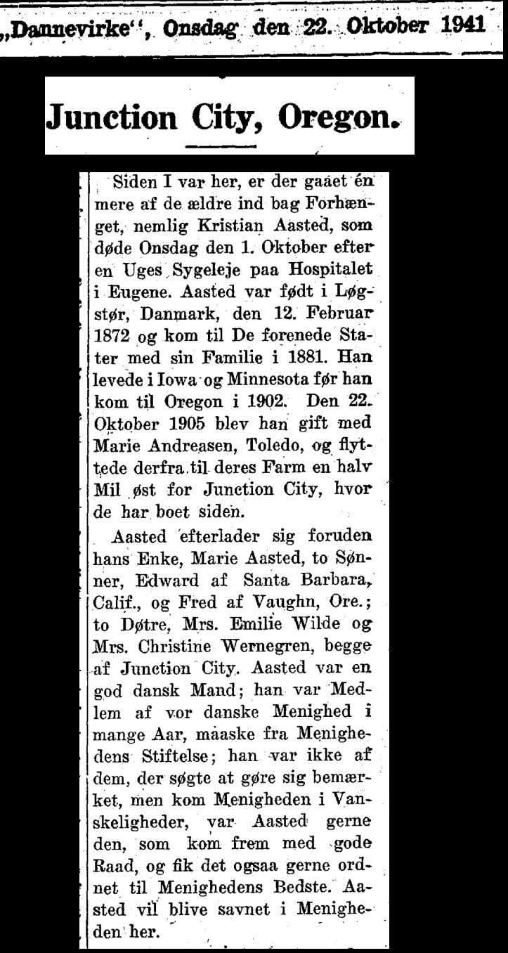 Kristian Aasted Nekrolog 1941