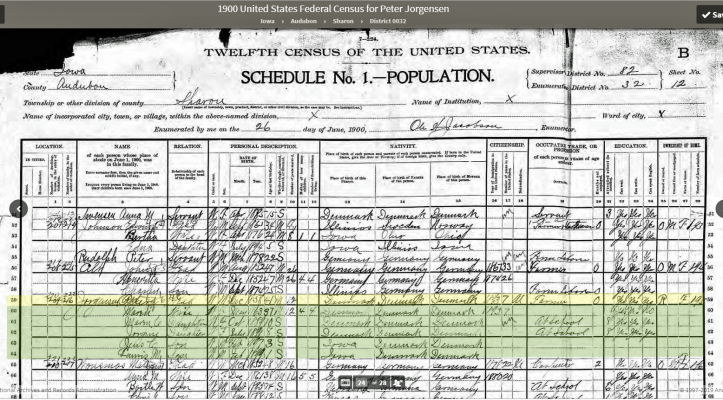 US Census 1900 Iowa Audubon Sharon