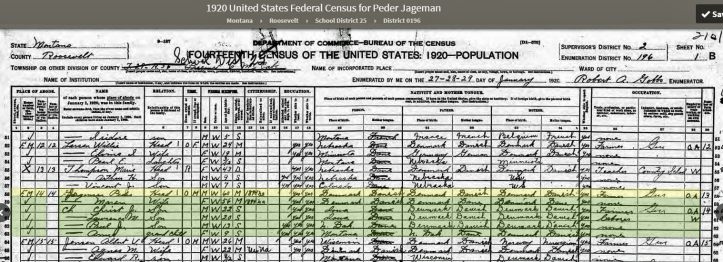 US Census 1920 Rosevelt Montana