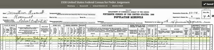 US Census 1930 Rosevelt Montana