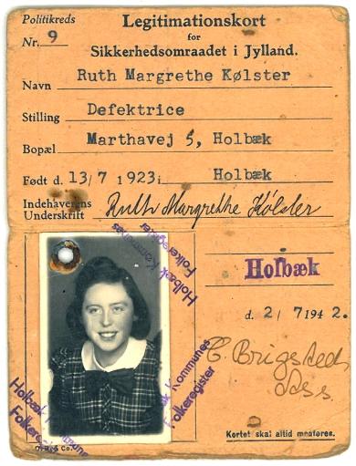 Ruths legitimationskort fra besættelsen