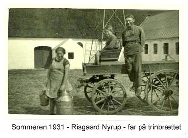 Risgård - Far står på fjedervognens trinbræt