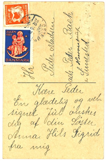 Julen 1935 kort fra søster Anna