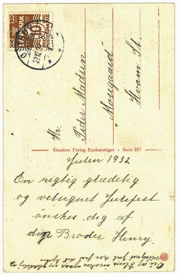 Julen 1932 Broder Henry også med hilsen til Elma