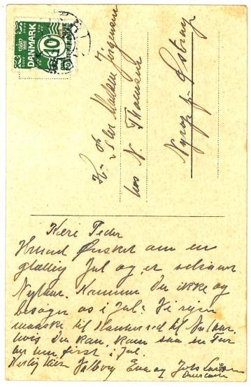 Julen 1927 Julehilsen fra tidligere husbond og Madmor Eva & Johs. Larsen Brungården Overlade