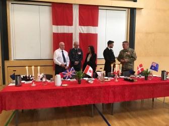 The Danish, Australian, UK and Canadian flag