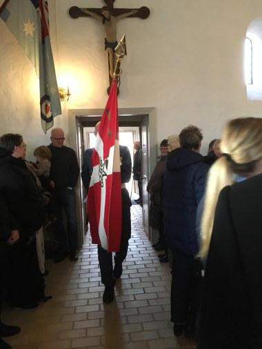 Flag into the church