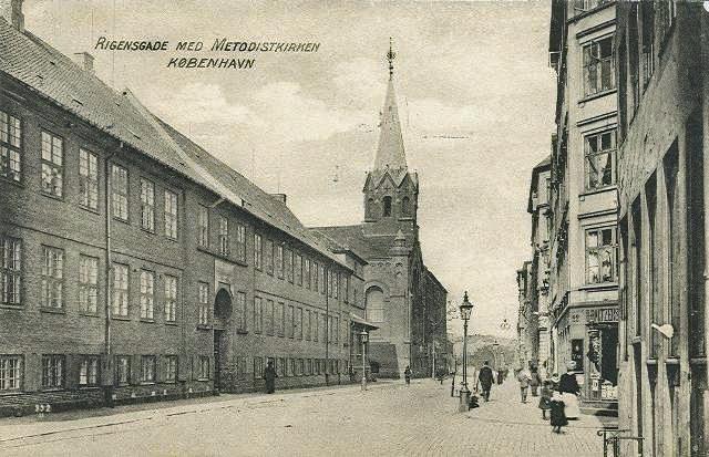 Rigensgade-Postkort-med-Metodistkirken-afsendt-i-1914