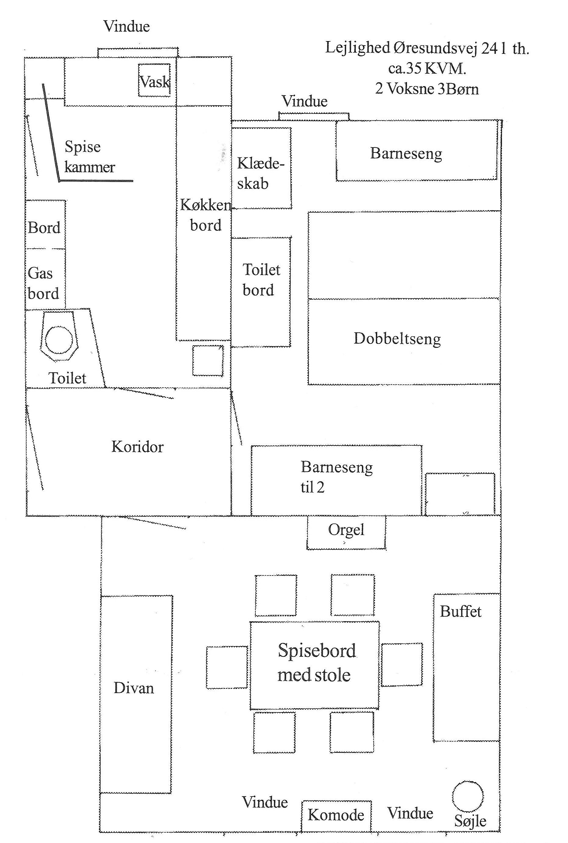 Tegning over Lejligheden Øresundsvej 24